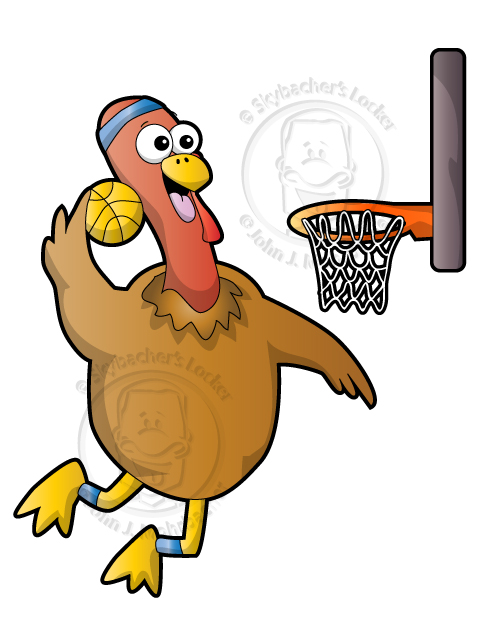 Cartoon Turkey Dunking a Basketball | Skybacher's Locker